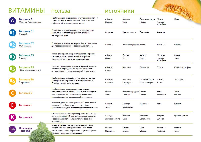 Таблица витаминов классификация